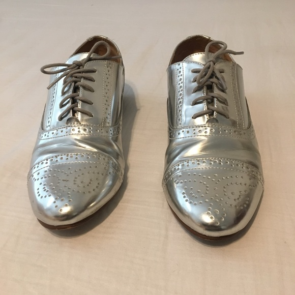 bf695653a20e J. Crew Shoes - J. Crew Mirrored Metallic Oxfords